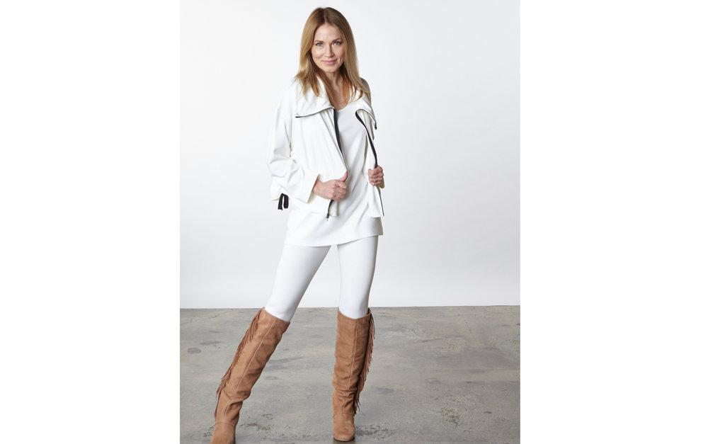 Irene Jacket, Bo Tunic, Legging in Cream Modal Ponti