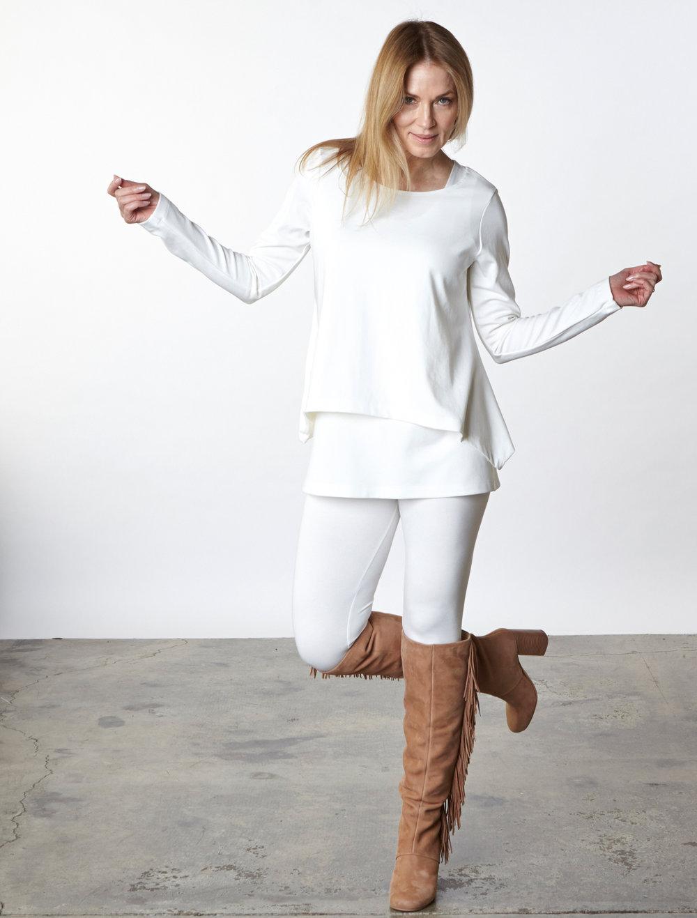 Cindi Shirt, Bo Tunic, Legging in Cream Modal Ponti