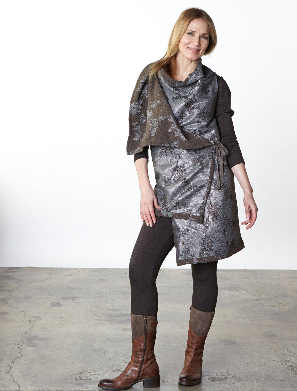 Julie Vest in Taupe/Silver Ready for Bruges, Liam Tunic, Legging in Chocolate Italian Melange