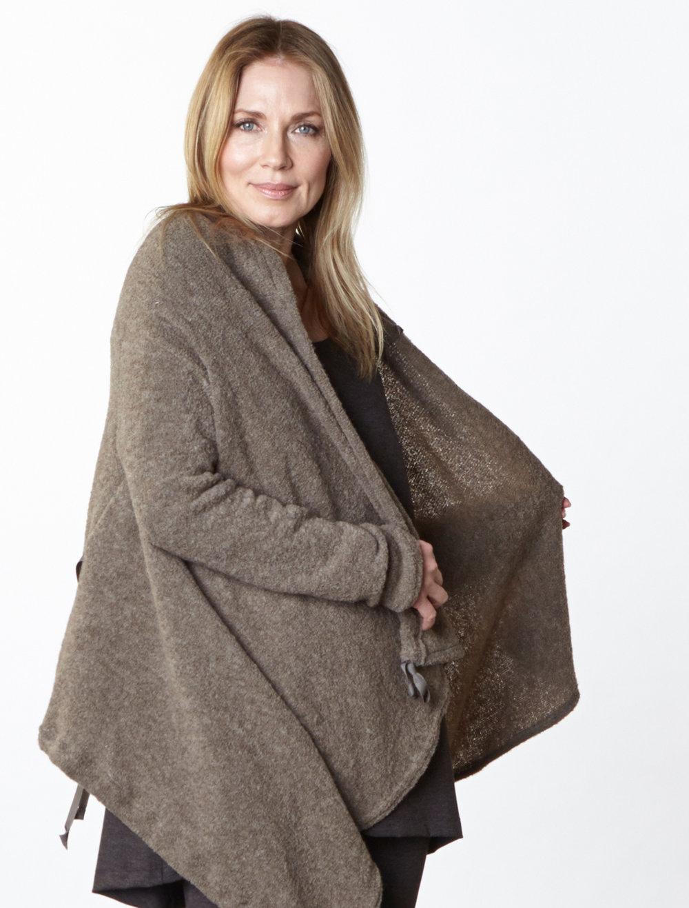 Eva Cardigan in Taupe Italian Wool, Liam Tunic, Legging in Chocolate Italian Melange