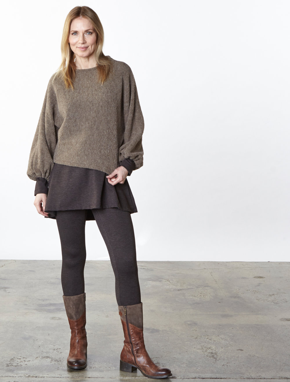 Anna Sweater in Taupe Italian Wool, Liam Tunic, Legging in Chocolate Italian Melange