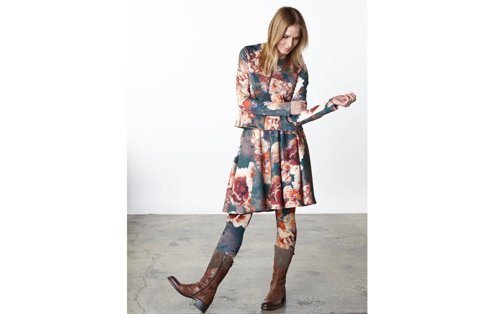 Betz Jacket, Dansa Skirt, Legging in Fiori Italian Print Scuba