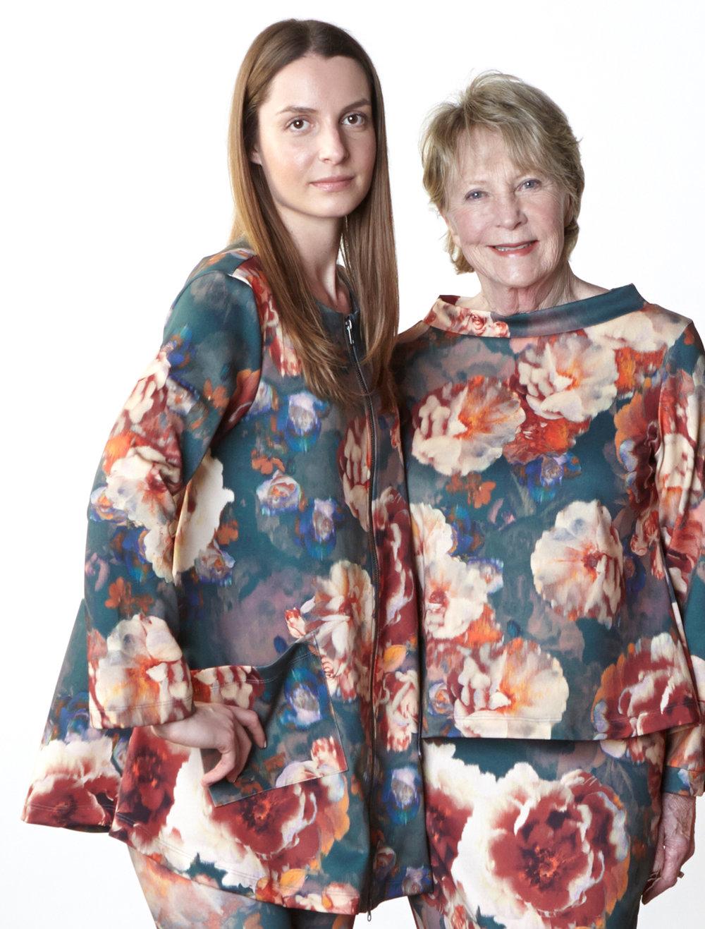 Jupiter Jacket,Doris Shirt, Legging, Slim Skirt in Fiori Italian Print Scuba
