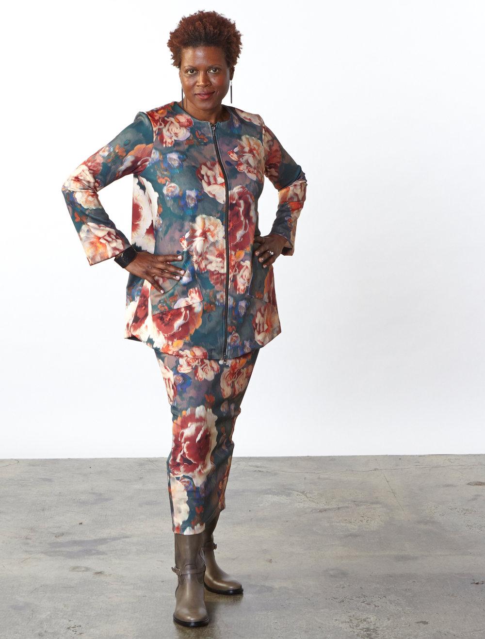 Jupiter Jacket, Slim Skirt in Fiori Italian Print Scuba