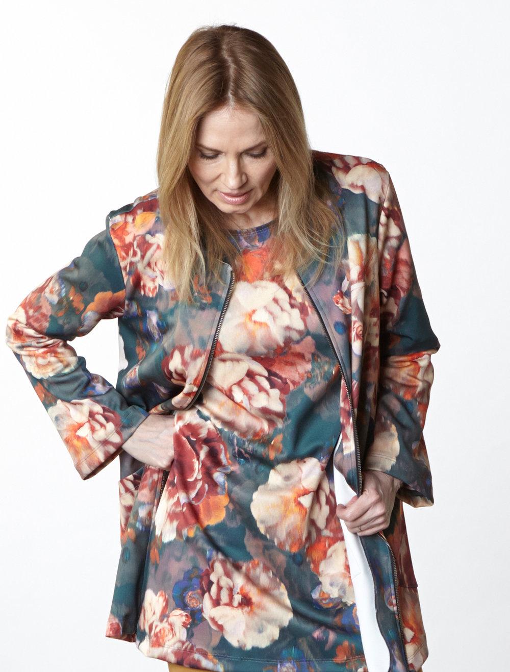 Jupiter Jacket, Yasmin Dress in Fiori Italian Print Scuba