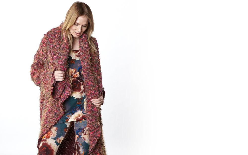 Wrap Coat in Fuchsia Italian Boucle, Gabo Tunic, Legging in Fiori Italian Print Jersey