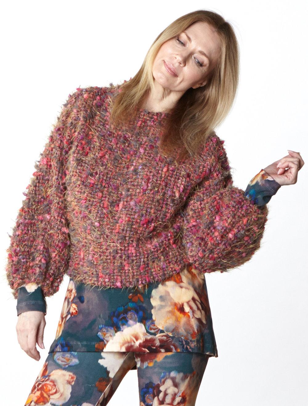 Anna Shirt in Fuchsia Italian Boucle, Gabo Tunic, Legging in Fiori Italian Print Jersey