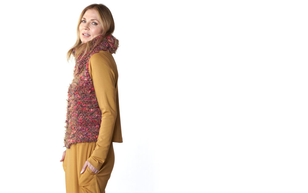Cowlneck Scarf, Betz Cardigan in Fuchsia Italian Boucle, Philippa Dress in Camel Modal Ponti