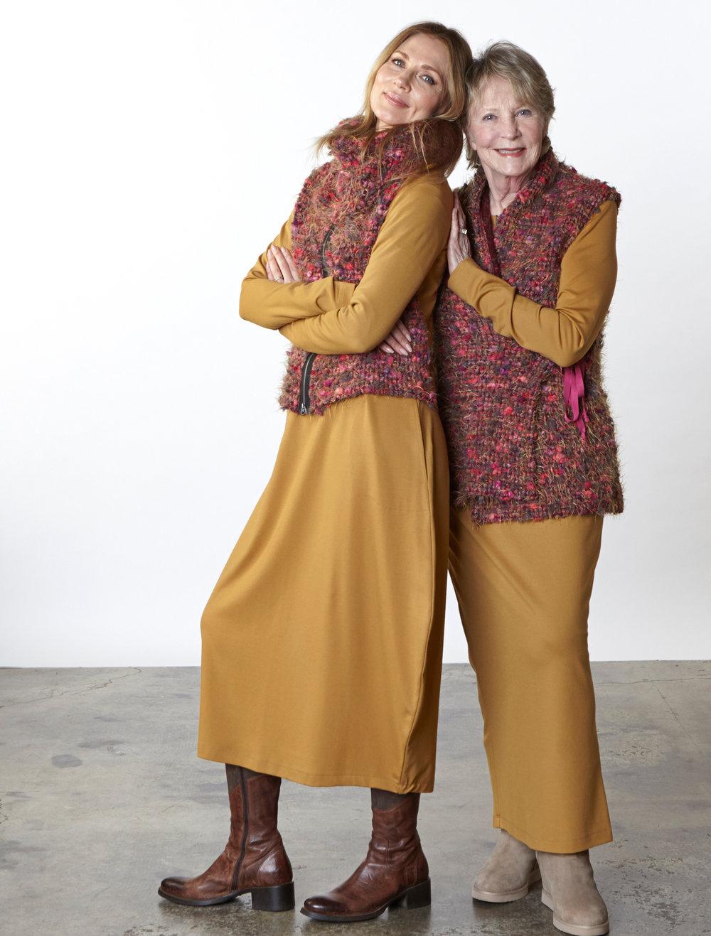 Cowlneck Scarf, Betz Cardigan, Eddie Vest in Fuchsia Italian Boucle, Philippa Dress, Cindi Shirt, Slim Skirt in Camel Modal Ponti