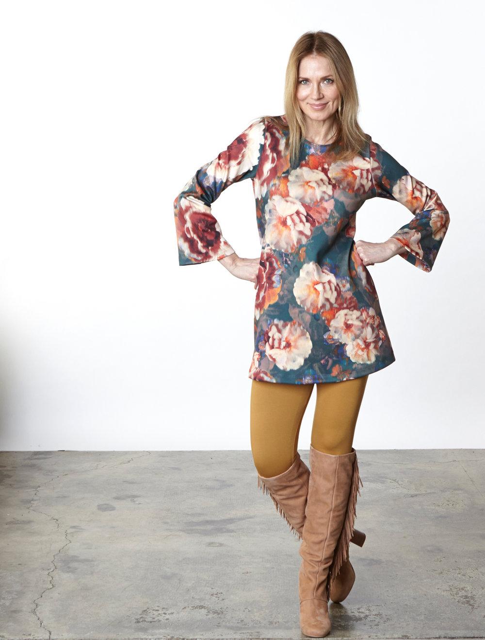 Yasmin Dress in Fiori Italian Print Scuba,Legging in Camel Modal Ponti