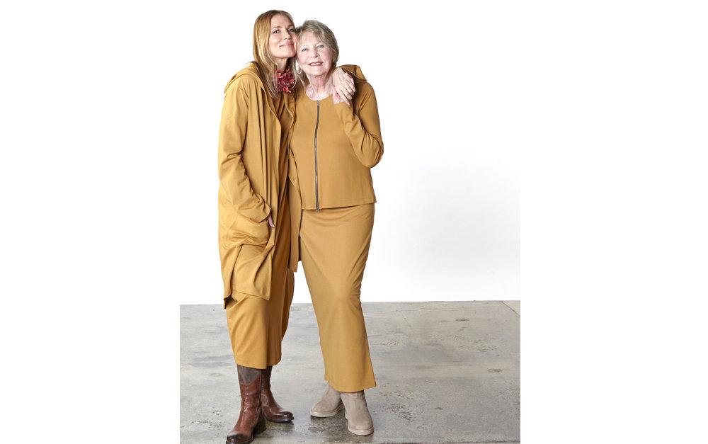 Morgen Jacket, Philippa Dress, Betz Jacket, Slim Skirt in Camel Modal Ponti
