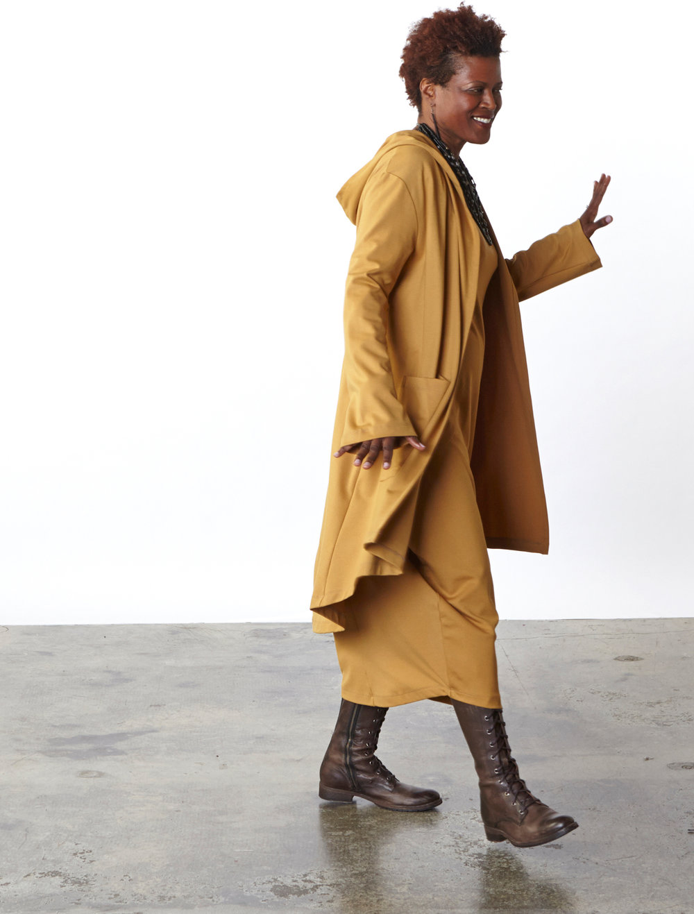 Morgen Jacket, Philippa Dress in Camel Modal Ponti