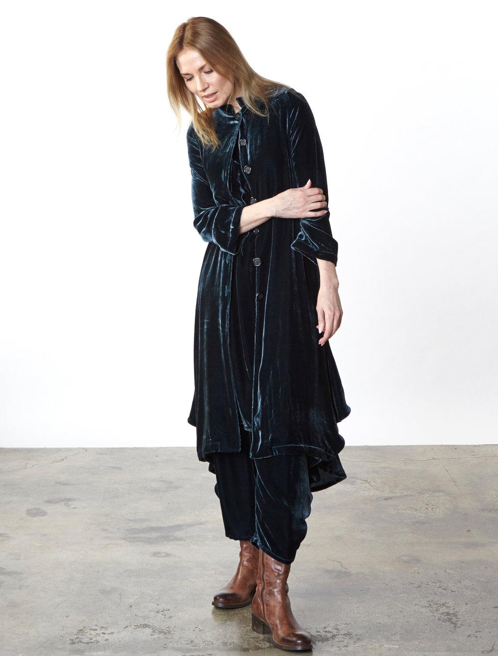 Llewellyn Jacket, Hamish Pant in Teal Italian Viscose/Silk Velvet