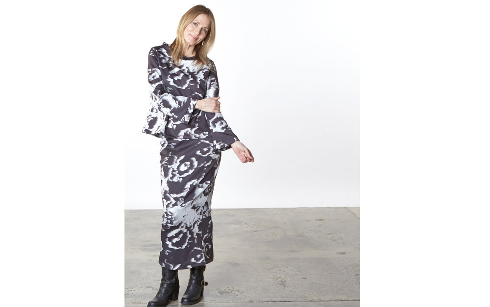 Doris Shirt, Slim Skirt in Black/White Italian Print Scuba