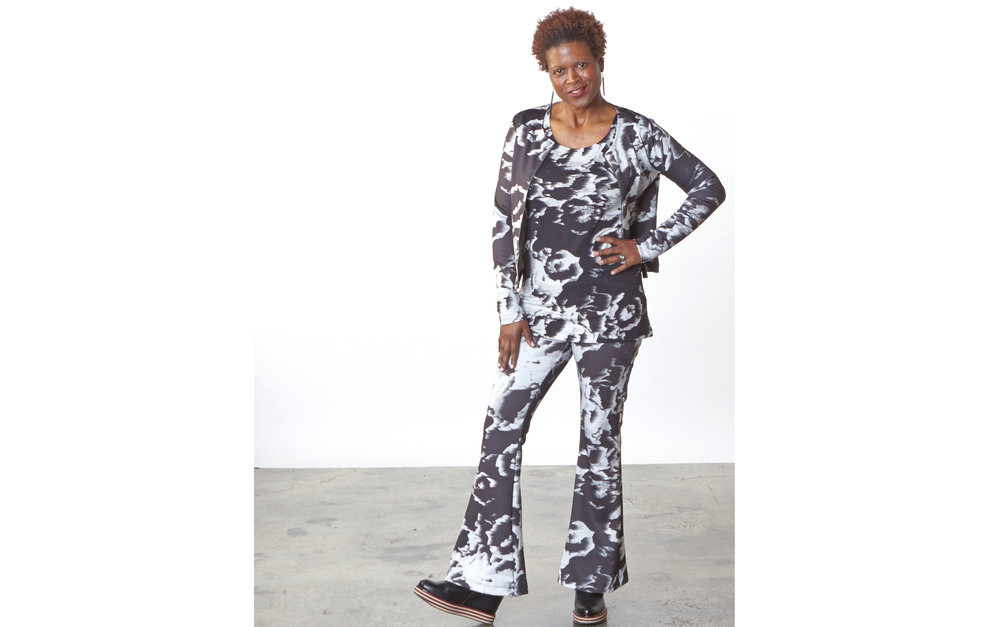 Betz Jacket, Sylvia Pant in Black/White Italian Print Scuba