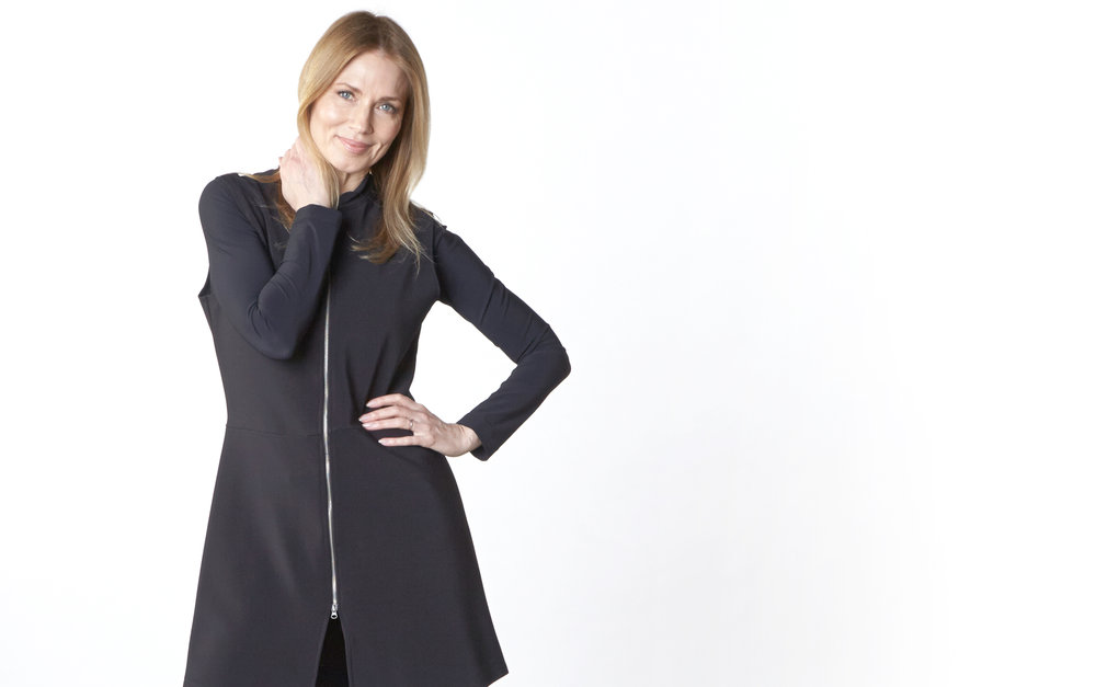 Cooper Vest, Legging in Black Ready for Zurich, Gabo Tunic in Black Italian Microfiber Jersey