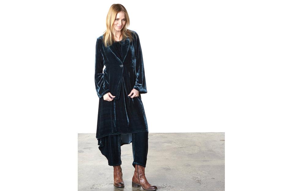 Alicia Jacket, Louie Dress, Hamish Pant in Teal Italian Viscose/Silk Velvet