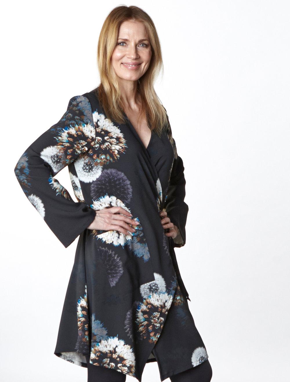 Andrea Jacket in Dandelion Italian Print Jersey, Legging in Black Modal Ponti