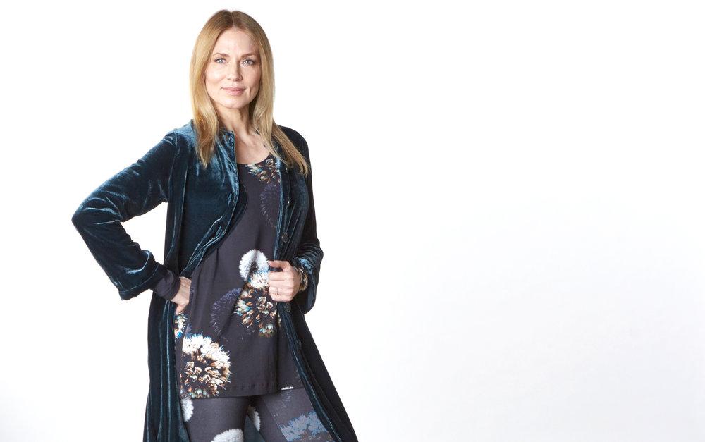 Llewellyn Jacket in Teal Italian Viscose/Silk Velvet, Gabo Tunic in Dandelion Italian Print Jersey, Legging in Dandelion Italian Print Scuba