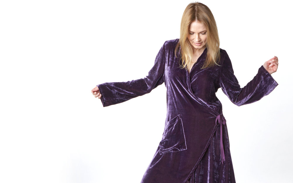 Andrea Jacket, Hamish Pant in Purple Italian Viscose/Silk Velvet
