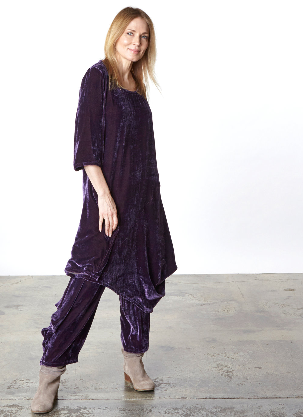 Naida Tunic, Hamish Pant in Purple Italian Viscose/Silk Velvet