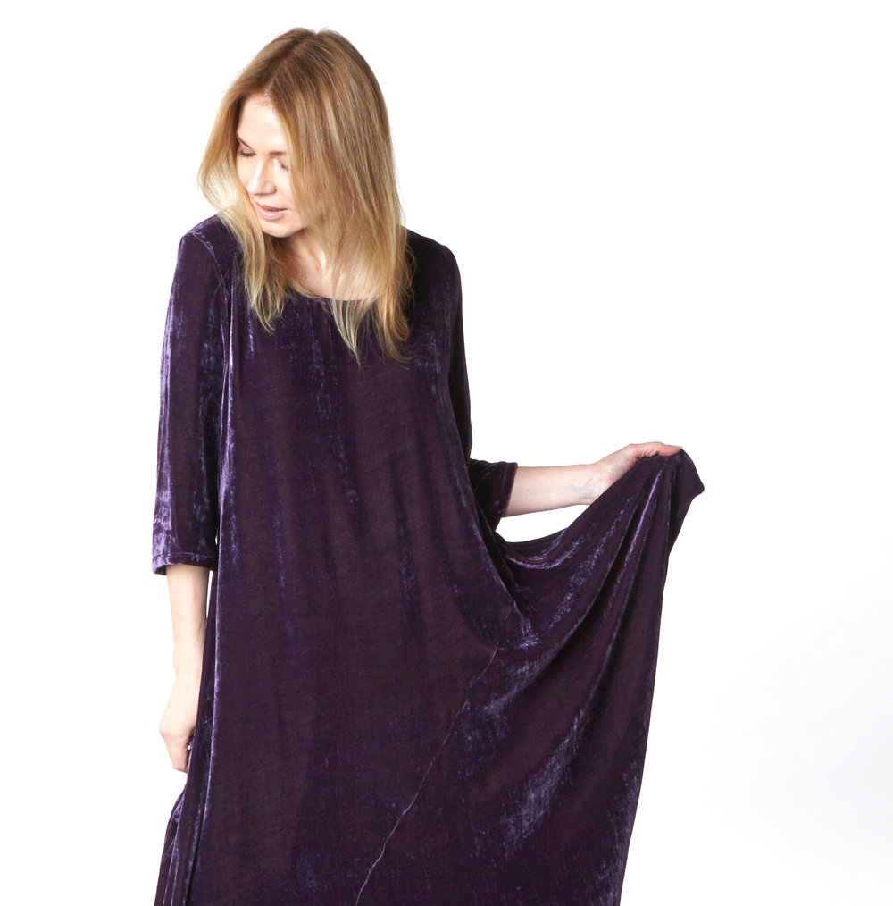 Naida Tunic in Purple Italian Viscose/Silk Velvet