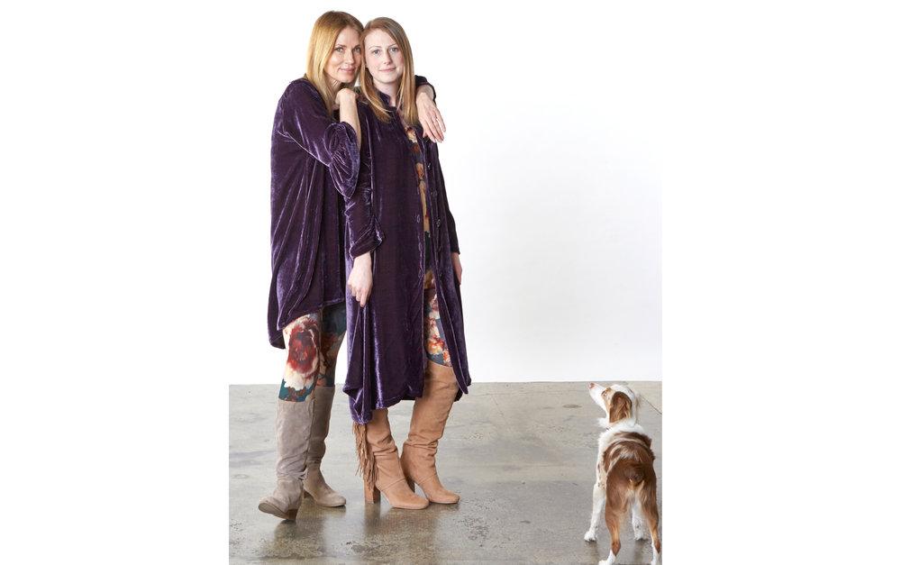 Phryne Tunic, Llewellyn Jacket in Purple Italian Viscose/Silk Velvet, Legging in Fiori Italian Print Scuba, Gabo Tunic, Legging in Fiori Italian Print Jersey