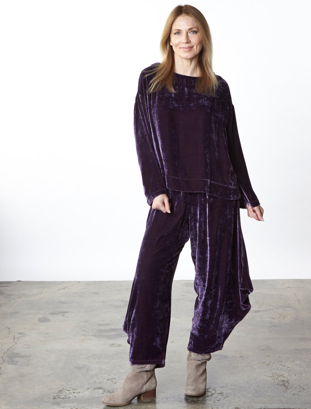Spa Tunic, Hamish Pant in Purple Italian Viscose/Silk Velvet