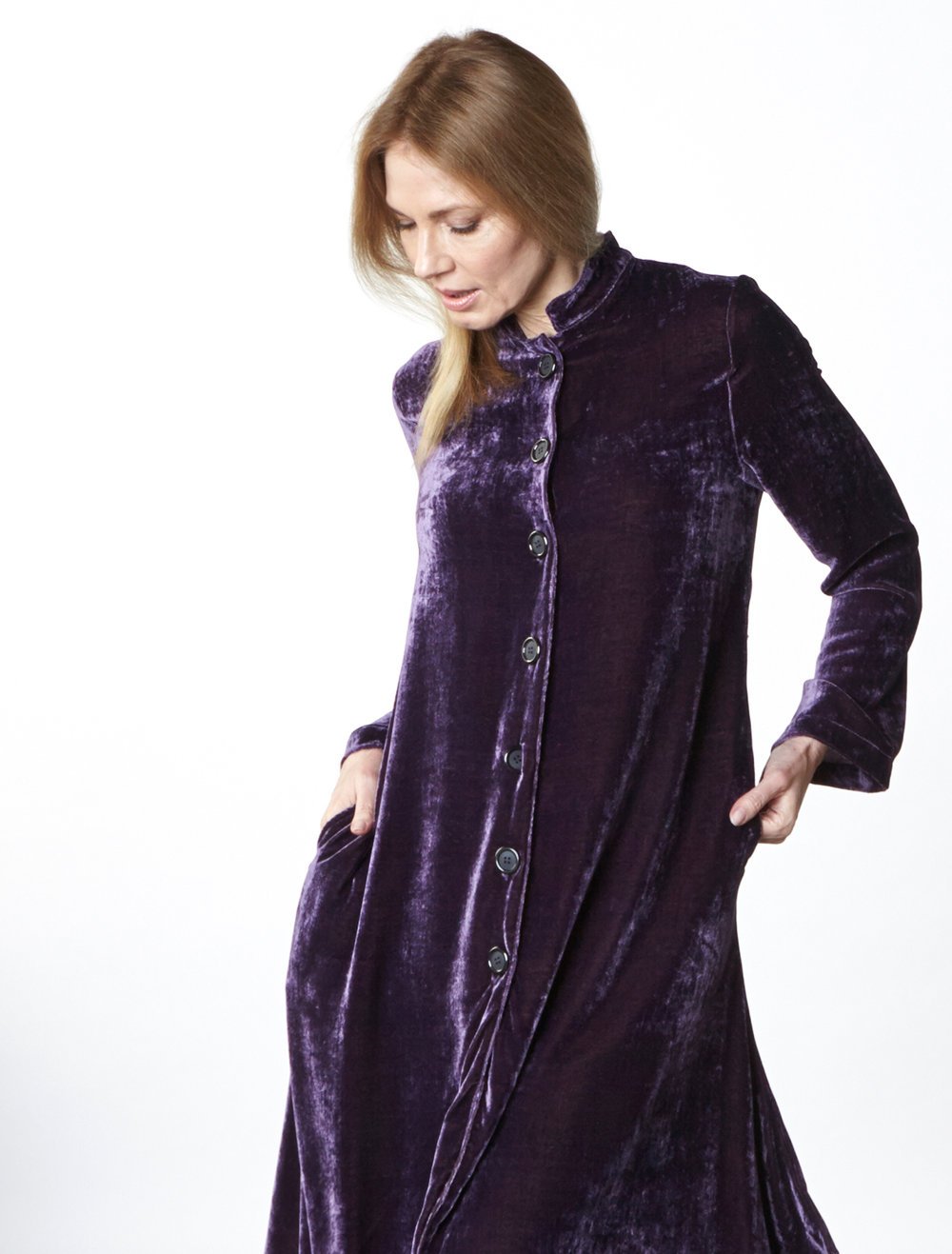 Llewellyn Jacket in Purple Italian Viscose/Silk Velvet