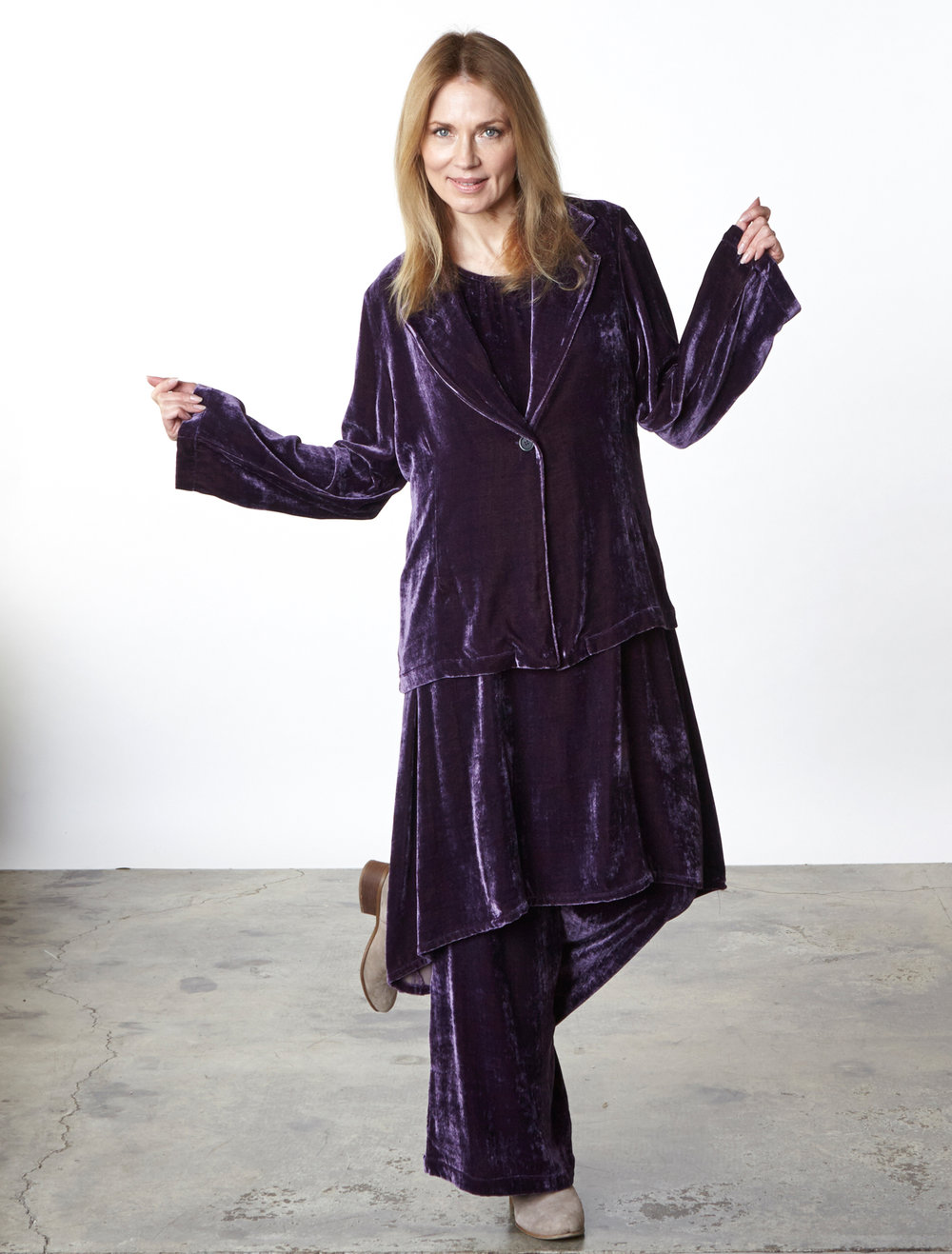 Alicia Jacket, Louie Dress, Long Full Pant in Purple Italian Viscose/Silk Velvet