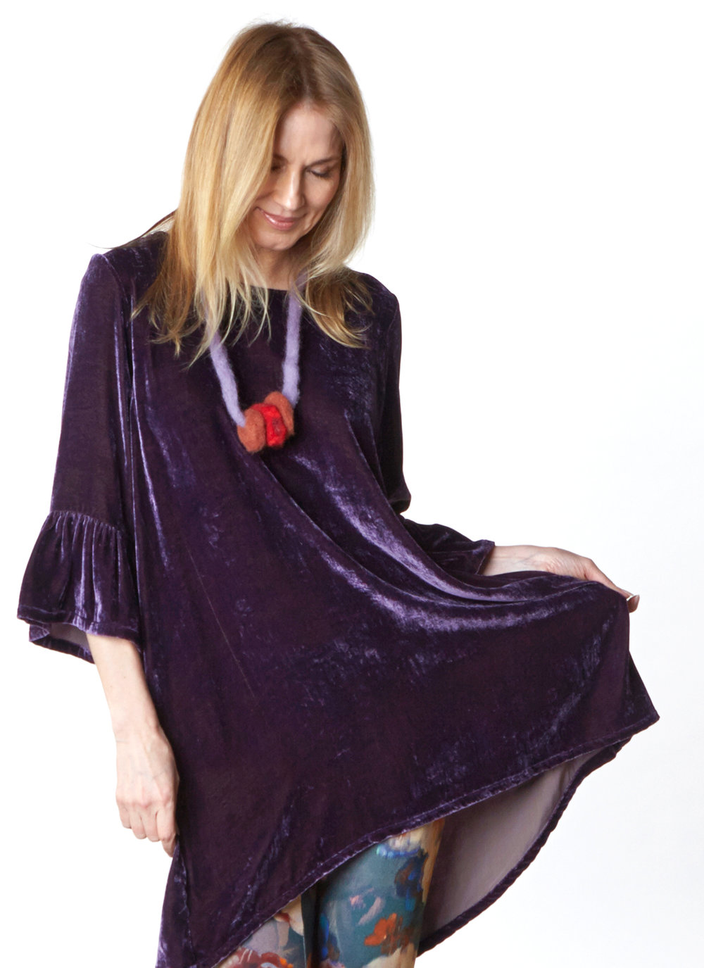 Phryne Tunic in Purple Italian Viscose/Silk Velvet, Legging in Fiori Italian Print Scuba