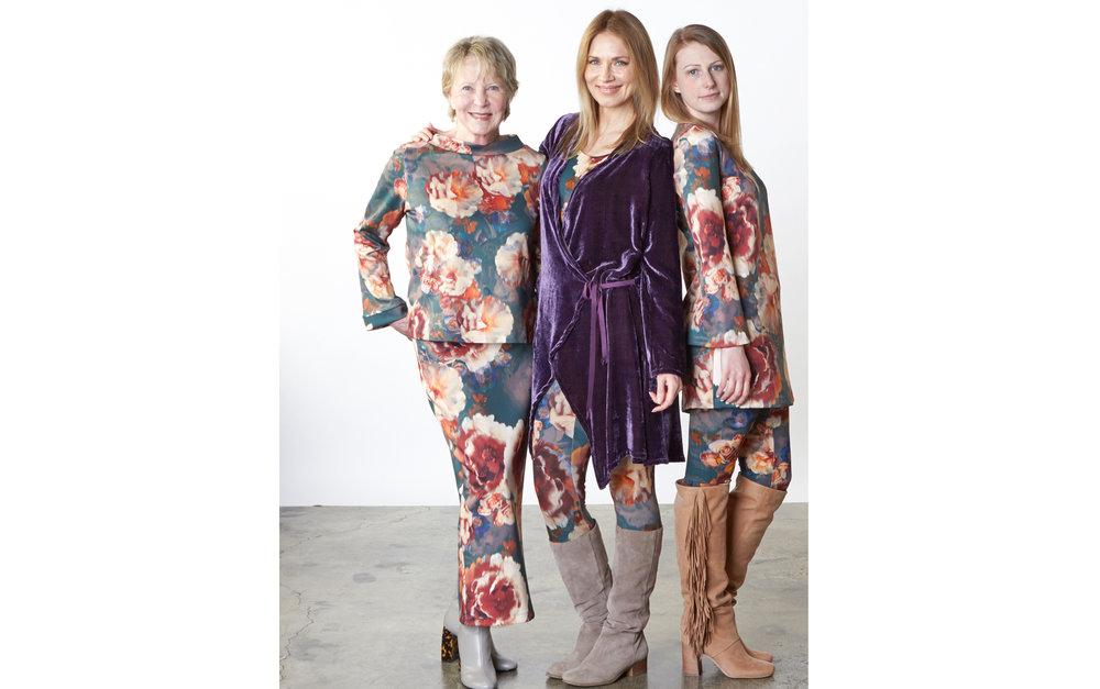 Andrea Jacket in Purple Italian Viscose/Silk Velvet, Doris Shirt, Slim Skirt, Legging, Yasmin Dress in Fiori Italian Print Scuba, Legging in Fiori Italian Print Jersey
