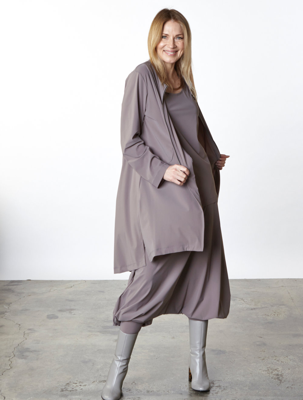 Emerson Jacket, Bo Tunic, Gaucho Pant in Taupe Italian Microfiber Jersey