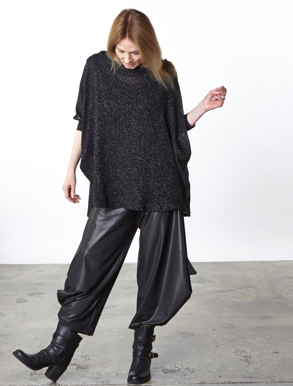 Debo Sweater in Black Italian Sparkle Wool, Hamish Pant in Black Italian Laminato
