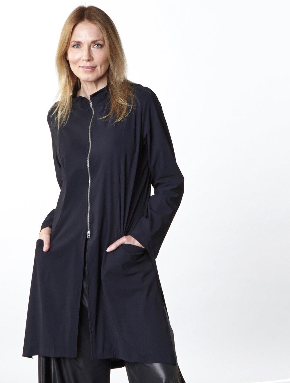 Emerson Jacket in Black Italian Microfiber Jersey, Hamish Pant in Black Italian Laminato