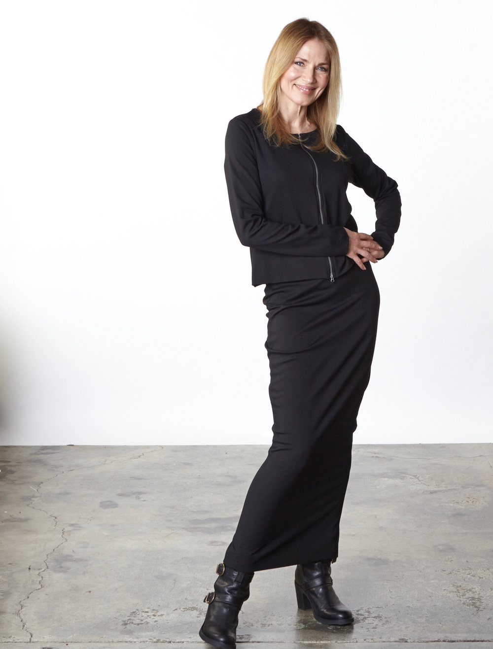 Betz Jacket, Slim Skirt in Black Modal Ponti