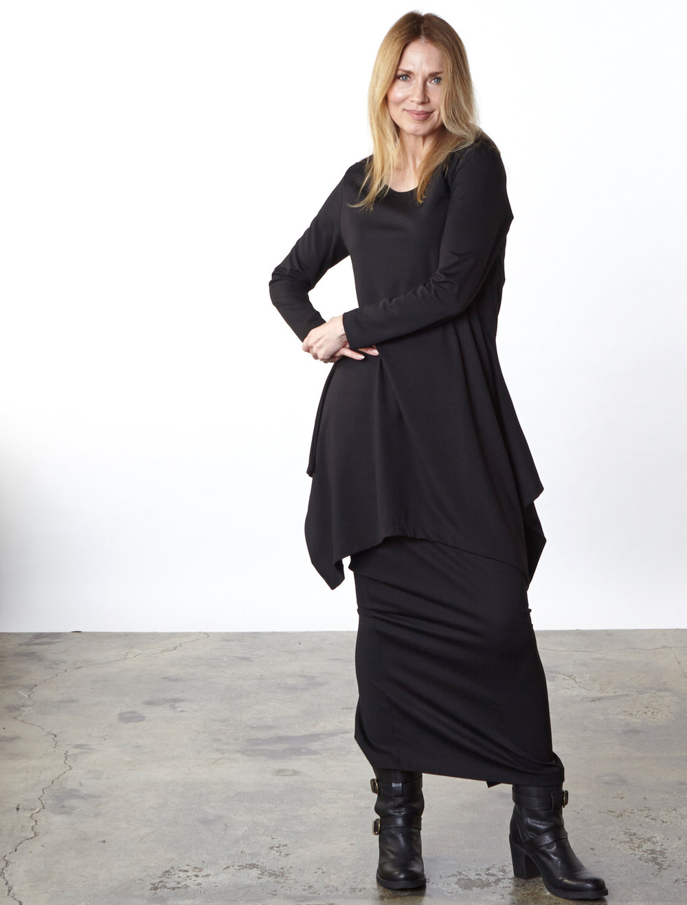 Chase Tunic, Slim Skirt in Black Modal Ponti