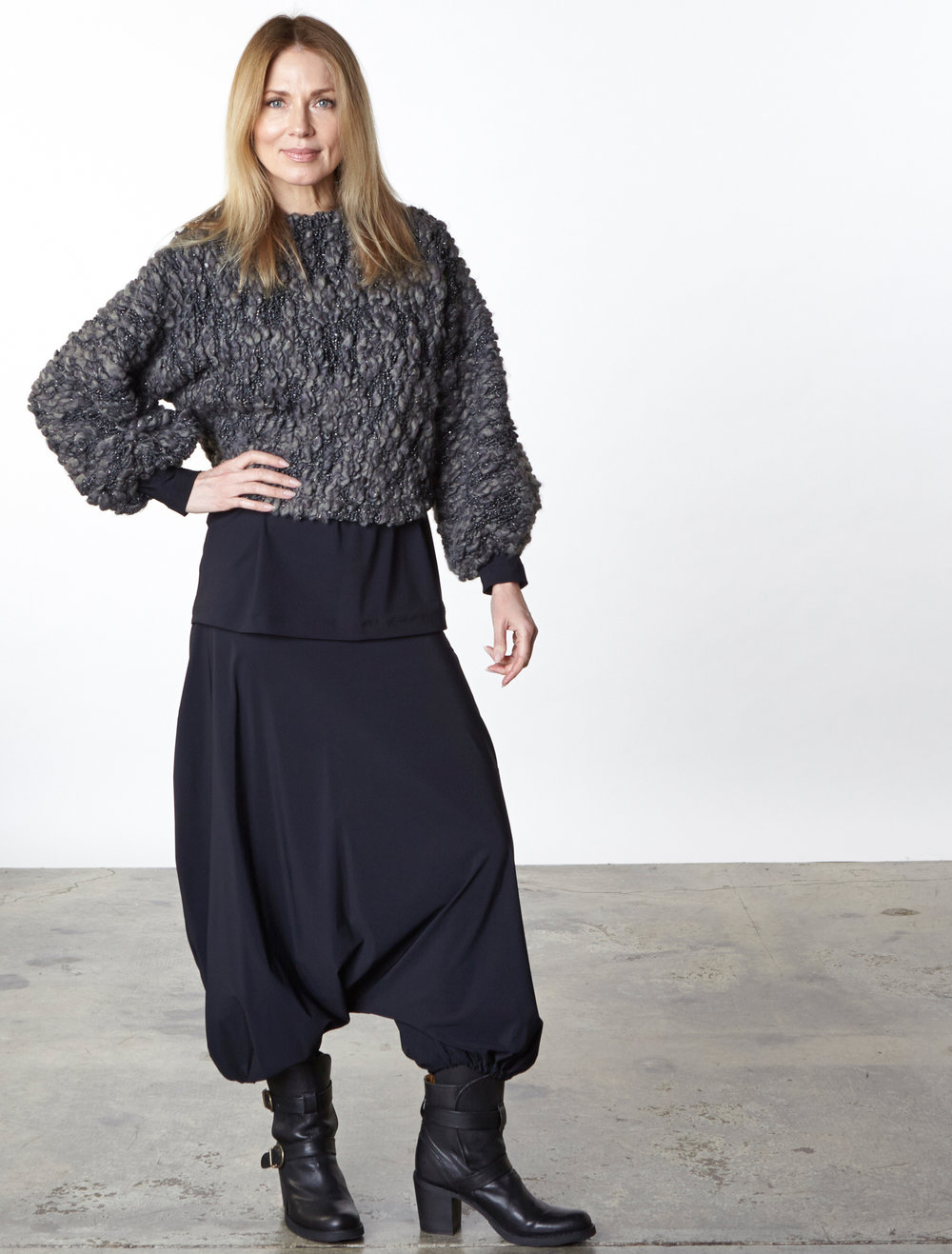 Anna Shirt in Ready for the Faroes, Gabo Tunic, Gaucho Pant in Black Italian Microfiber Jersey