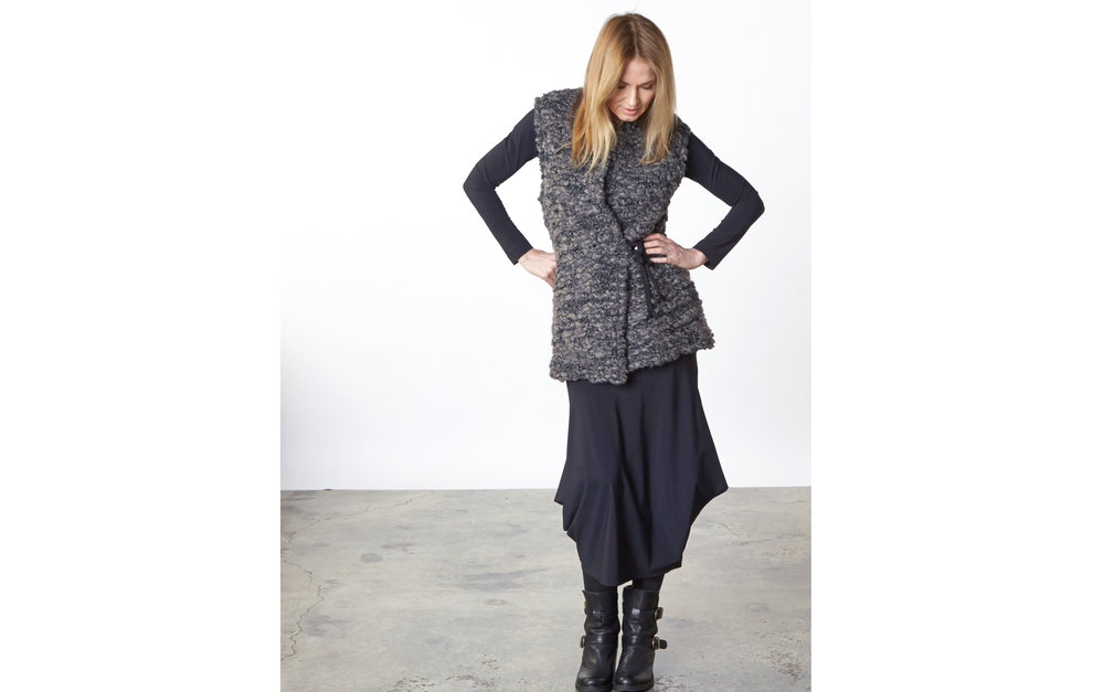 Eddie Vest in Ready for the Faroes, Gabo Tunic, Hamish Skirt in Black Italian Microfiber Jersey