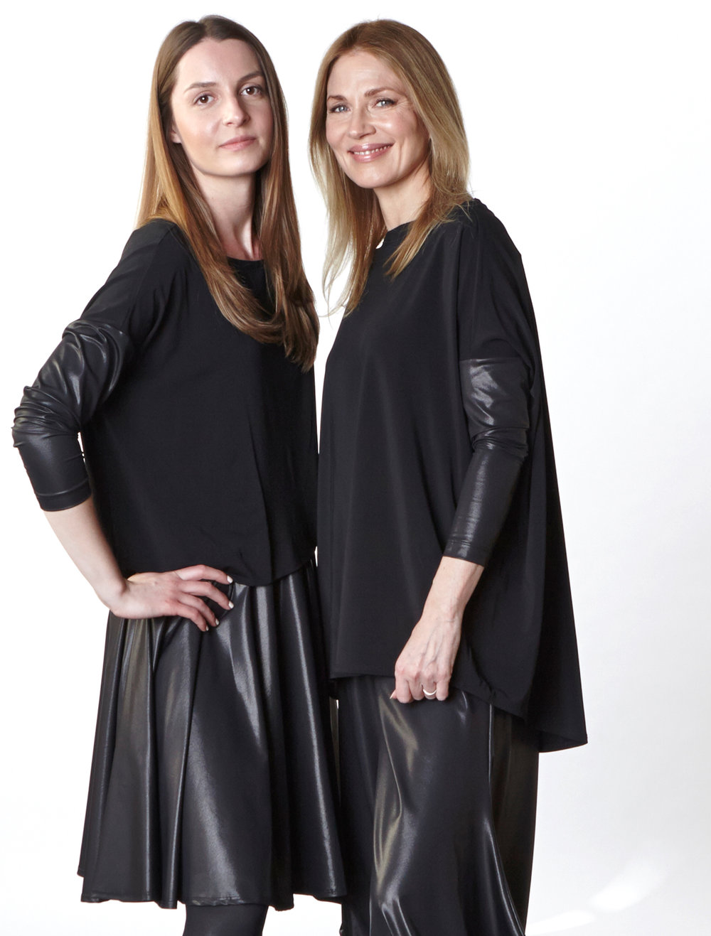 Button Back Shirt, Dansa Skirt, Dimitri Tunic, Hamish Pant in Black Italian Laminato