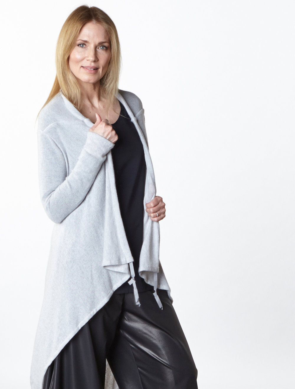 Eve Cardigan in Light Grey Italian Wool, Lois Tunic in Black Italian Viscose Jersey, Hamish Pant in Black Italian Laminato