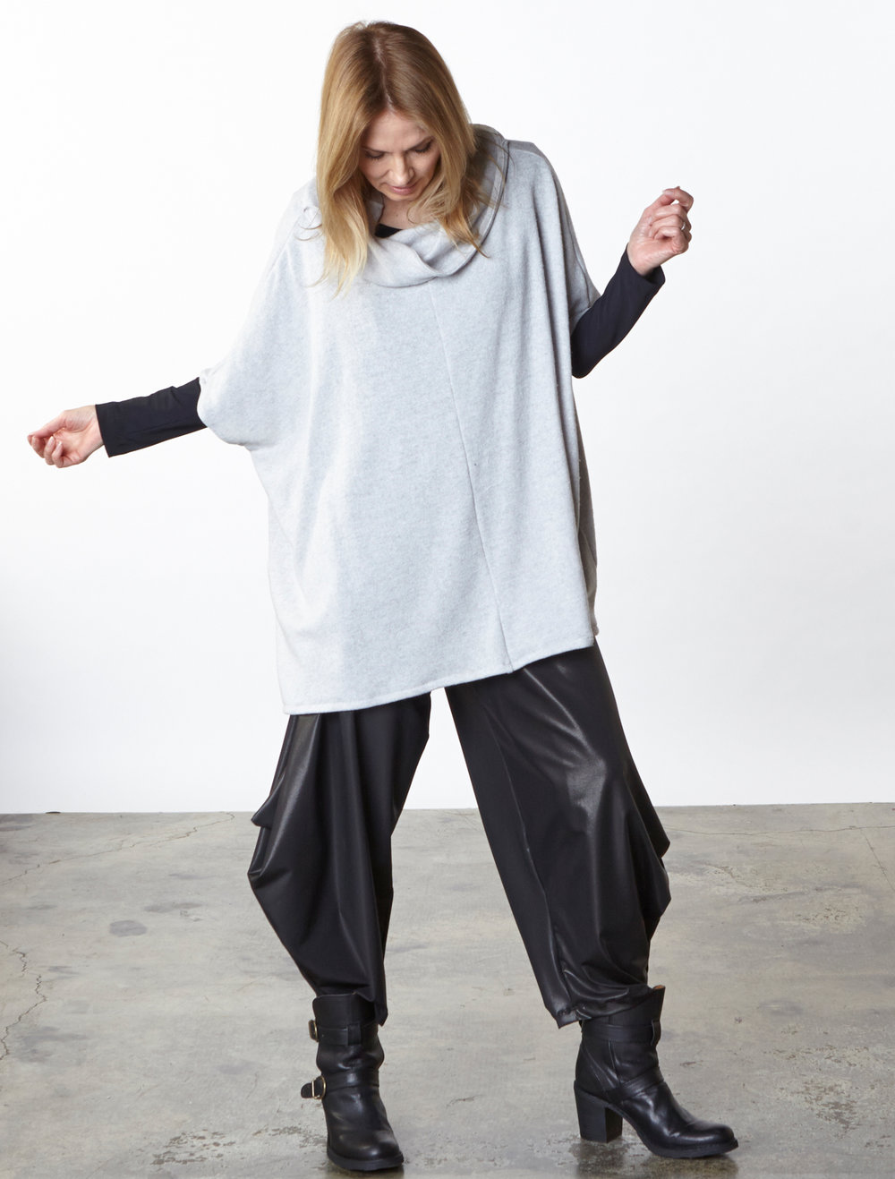 Cowlneck Poncho in Light Grey Italian Wool, Hamish Pant in Black Italian Laminato