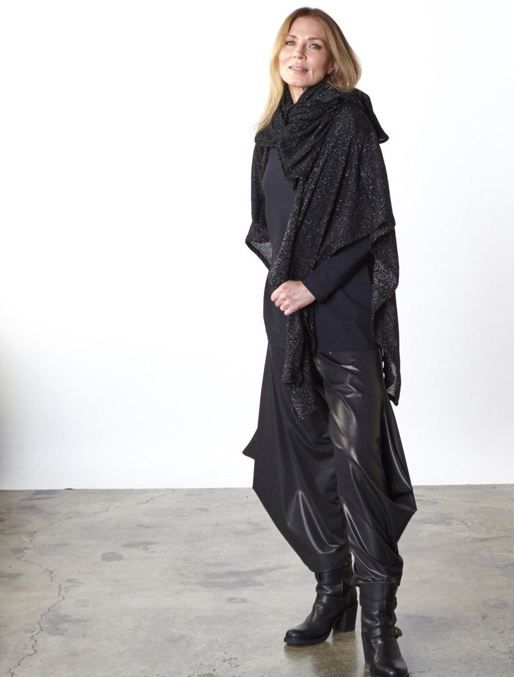 Wrap Poncho in Black Italian Sparkle Wool, Gabo Tunic in Black Italian Microfiber Jersey, Hamish Pant in Black Italian Laminato