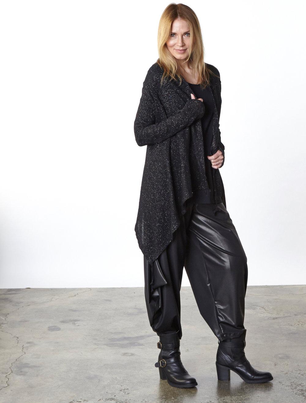 Eva Cardigan in Black Italian Sparkle Wool, Gabo Tunic in Black Italian Microfiber Jersey, Hamish Pant in Black Italian Laminato