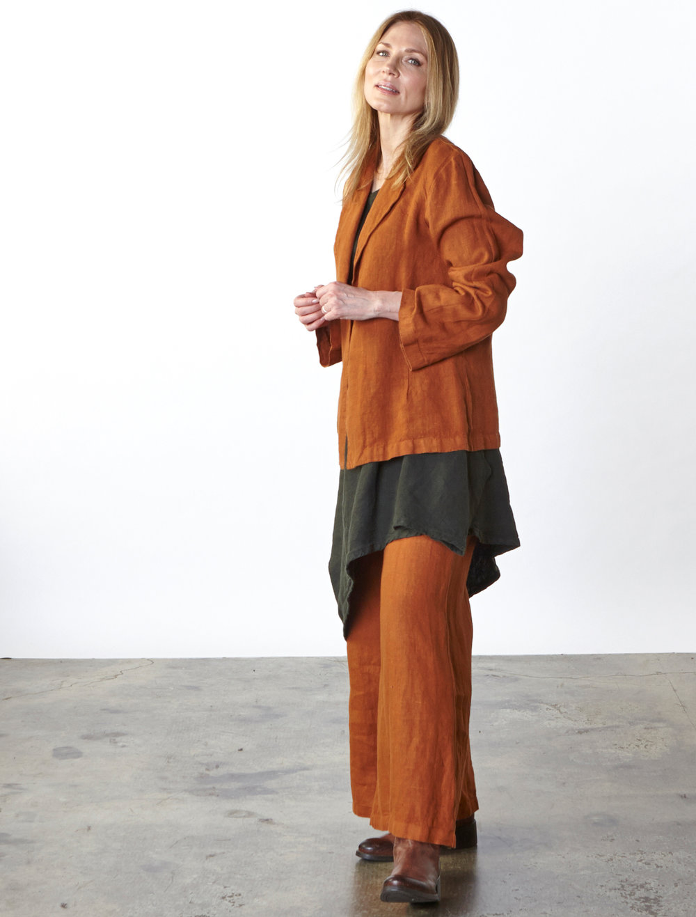 Marcel Jacket, Long Full Pant in Jemez, Nada Tunic in Huntress Heavy Linen