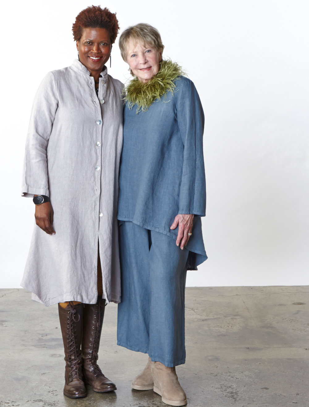 Llewellyn Jacket in Daikon, Leo Tunic, Flood Pant in Estuary Heavy Linen, Legging in Camel Modal Ponti