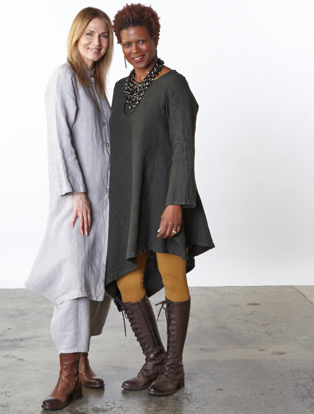 Llewellyn Jacket, Oliver Pant in Daikon, Nada Tunic in Huntress Heavy Linen, Legging in Camel Modal Ponti