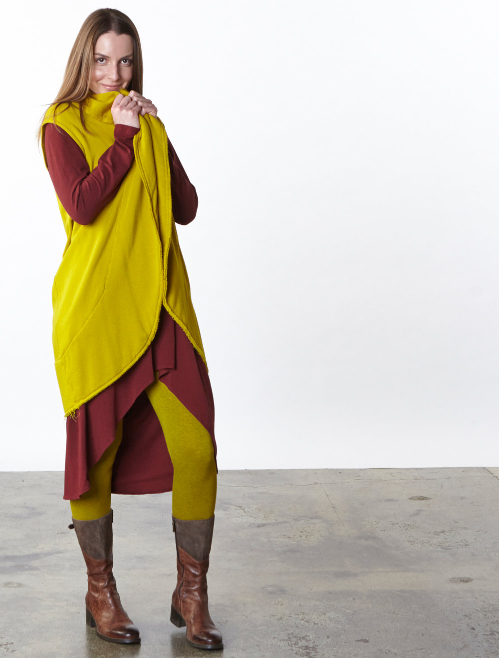Wrap Vest in Goldfinch Bamboo Fleece, Elektra Dress in Manzanita Organic Bamboo Cotton