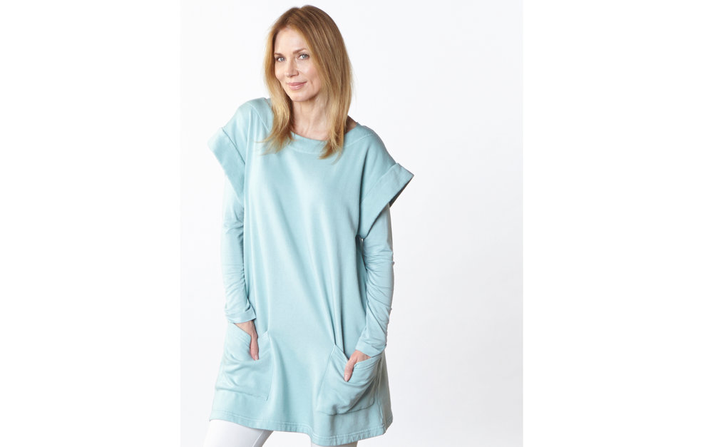 Clyde Tunic in Isthmus Bamboo Fleece, Long Shell in Isthmus Micro Modal