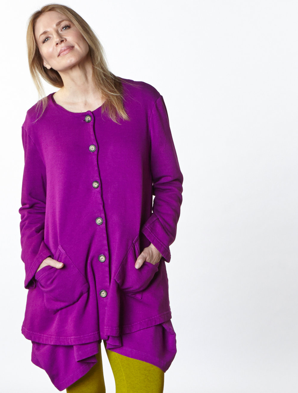 Jupiter Jacket in Rhapsody Bamboo Fleece, Nahla Tunic in Rhapsody Bamboo French Terry